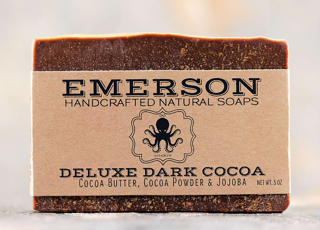 All Natural, Vegan, Palm-Free Deluxe Dark Cocoa Soap with Cocoa Butter and Jojoba Handmade by Emerson Soaps in Melbourne, Florida