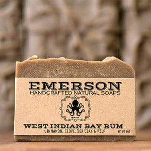 All-Natural Bay Rum Soap Handmade with Essential Oils, Vegan, Palm Free, Emerson Soaps