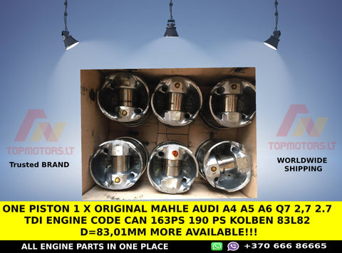 One PISTON 1 x Original MAHLE AUDI A4 A5 A6 Q7 2,7 2.7 TDi ENGINE CODE CAN 163PS 190 PS Kolben 83L82 d=83,01mm MORE AVAILABLE!!!