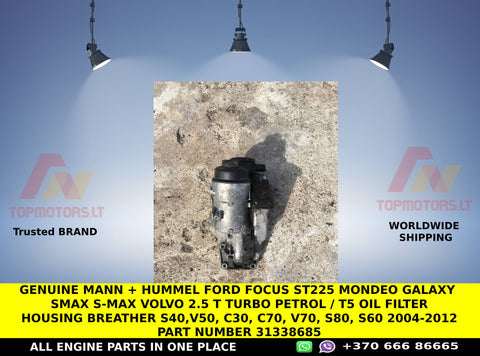 Genuine mann + hummel ford focus st225 mondeo galaxy smax s-max Volvo 2.5 t turbo petrol / T5 Oil Filter Housing breather S40,V50, C30, C70, v70, S80, S60 2004-2012 part number 31338685