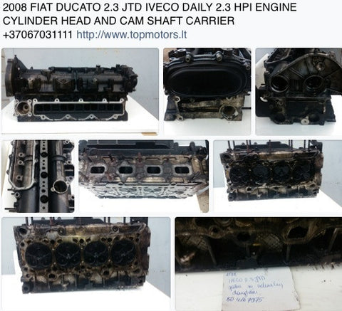 2008 FIAT DUCATO 2.3 JTD IVECO DAILY 2.3 HPI ENGINE CYLINDER HEAD AND CAM SHAFT CARRIER