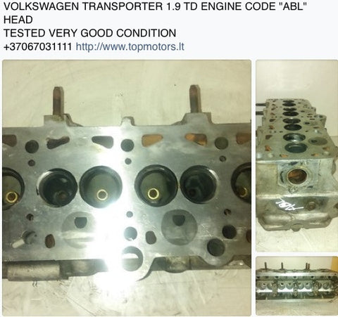 "VOLKSWAGEN TRANSPORTER ENGINE CODE ""ABL"" 1.9 TURBO DIESEL ENGINE HEAD"