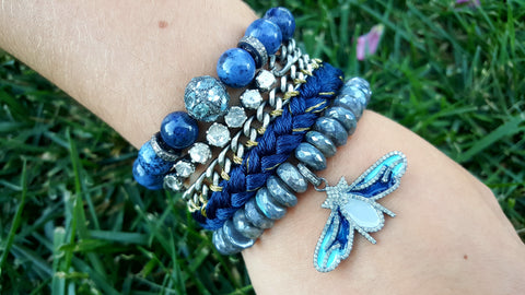 Enamel and Pave Diamonds Butterfly Charm Bracelet - Labradorite Bracelet