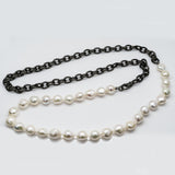 White Freshwater Pearls and Brass Chain with Pave Diamond Clasp Necklace