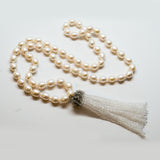 White Freshwater Pearls and Crystal Quartz Tassel Necklace