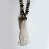 Rutilated Quartz and Crystal Quartz Tassel Necklace