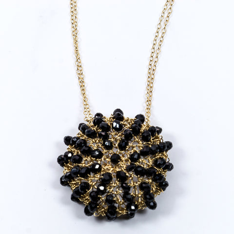 Black Spinel Crochet Necklace