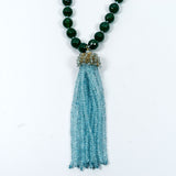 Green Agate and Swiss Blue Topaz Tassel Necklace