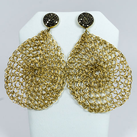 Gold-Filled Wire Crochet Earrings with Pave Diamonds Ear Posts