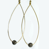 Long Oval Earrings with Pave Diamond Ball