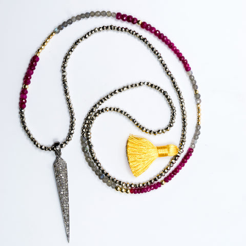 Ruby and Labradorite with Pave Diamond Spike Necklace