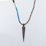 Turquoise and Malachite with Pave Diamond Spike Necklace