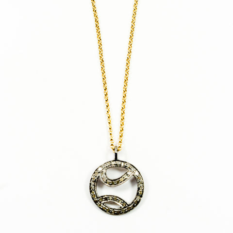 """Tennis anyone?"" Pave Diamond Pendant on a Gold-Filled Chain"