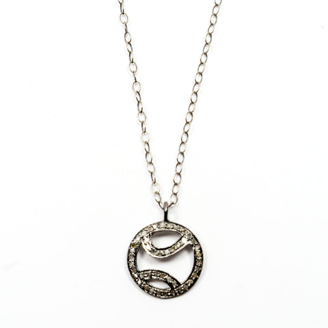 """Tennis anyone?"" Pave Diamond Pendant on a Silver Chain"