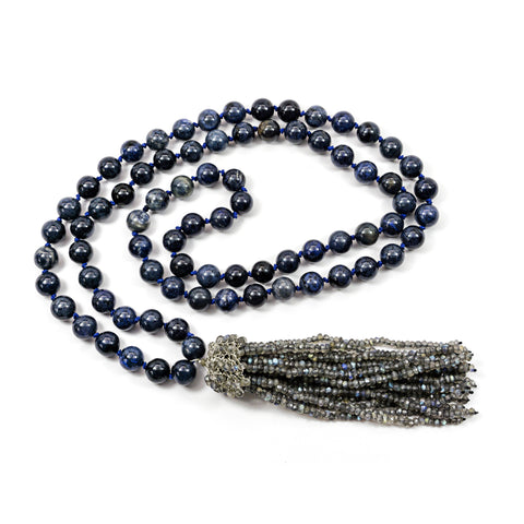Dumorite and Labradorite Tassel Necklace