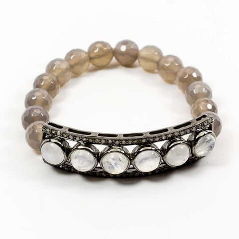 Moonstone with Pave Diamonds Stretchy Bracelet