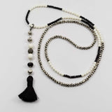 White Bone, Silver Pyrite and Black Spinel with Pave diamond Ball and Silk Tassel Necklace