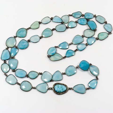 Blue Chalcedony Stations and Larimar Pave Diamonds Connector Necklace