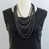 Black Agate, Silver Pyrite and Silver Chains Multi Strand Necklace