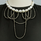 White Freshwater Pearls and Silver Pyrite Statement Necklace
