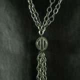 Oxidized Brass Chain with Silver Pearls and Pave Diamonds Connector Tassel Necklace