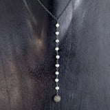 Silver Chain with White Freshwater Pearls and Pave Diamond Ball Y-Necklace