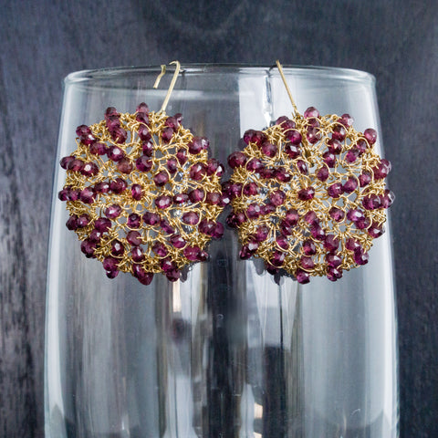 Garnet Crochet Earrings