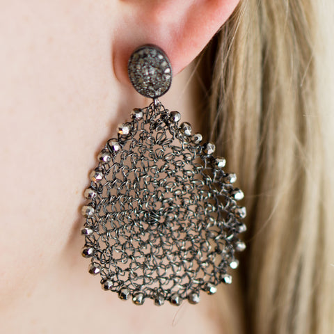 Wire Crochet Earrings with Pave Diamonds Ear Posts