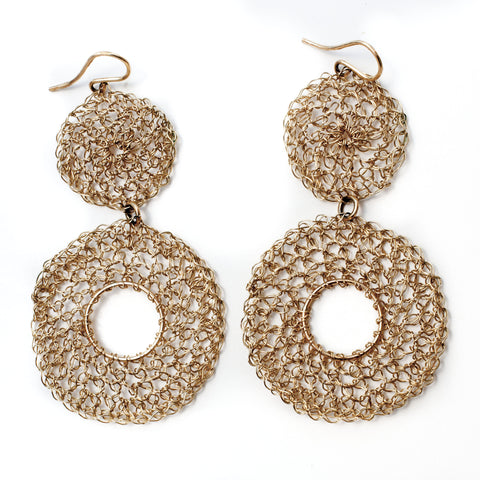 Double Disk Wire Crochet Earrings