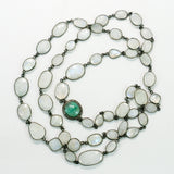 Rainbow Moonstone Stations and Emerald Pave Diamonds Connector Necklace
