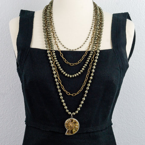 Hand Knotted Pyrite and Brass Chains with Ammonite Fossil Pave Diamonds Pendant Multi Strand Necklace
