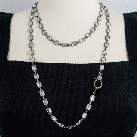Cubic Zirconia Stations and Oxidized Silver Pave Diamonds Clasp Necklace