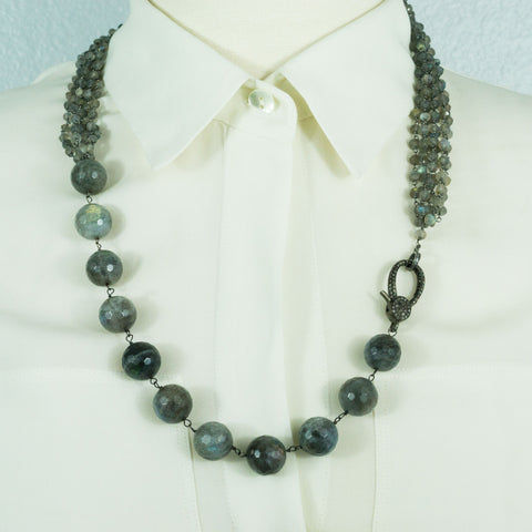 Labradorite, Labradorite Chain and Pave Diamonds Lobster Clasp Necklace
