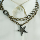 Brass Chain with Pave Diamonds Lobster Clasp and Pave Diamonds Oxidized Silver Star Pendant Necklace