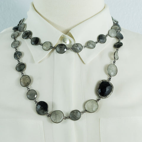 Black Rutilated Quartz Stations and Black Spinel Pave Diamonds Connector Necklace
