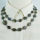 Labradorite Stations and Labradorite Pave Diamonds Connector Necklace