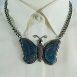 Labradorite Butterfly Pave Diamonds Pendant on a Heavy Oxidized Silver Chain Necklace