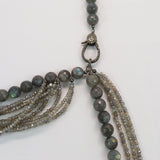 Beaded Labradorite and Mystic Labradorite Necklace with Pave Diamonds Lobster Clasp