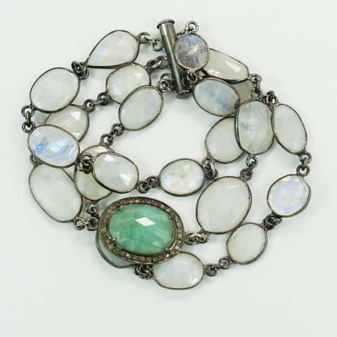 Multi-strand Oxidized Silver Rainbow Moonstone and Pave Diamonds Emerald Connector Bracelet