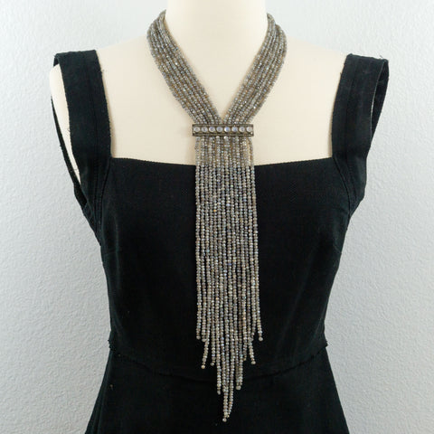 Mystic Labradorite and Pave Diamonds Rainbow Moonstone Bar Fringe Necklace
