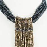 Black Spinel and Bronze Hematite Tie Necklace