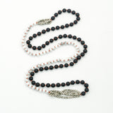 Hand Knotted Matte Black Agate, Silver Spinel and White Howlite Necklace