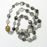 Black Rutilated Quartz Stations and Yellow Sapphire Pave Diamonds Connector Necklace