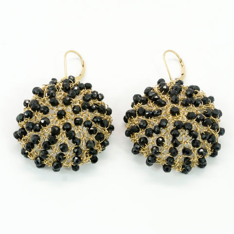 Black Spinel Wire Crochet Earrings