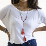 Beaded Turquoise, Bone and Coral Necklace with Pave Diamond Accents and Tassels
