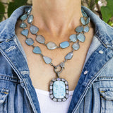 Larimar Pave Diamond Pendant - Pave Diamond Clasp - Moonstone Pendant - Blue Chalcedony Necklace - Bezel Chain - Larimar Necklace