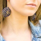 Lapis Wire Crochet Earrings