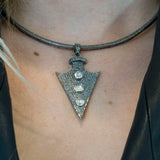 Rose Cut Diamonds and Pave Diamonds Arrowhead Pendant - Pave Diamonds Choker - Arrowhead Necklace