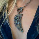 Labradorite and Pave Diamonds Horn Pendant Necklace