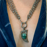 Emerald and Pave Diamonds Horn Pendant Necklace
